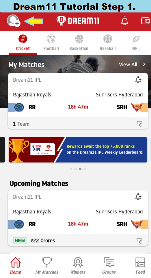 How to change the profile name in Dream 11 Step 1