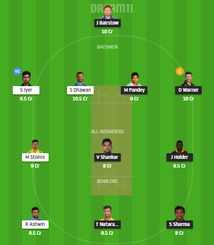SRH Vs DC Dream11 Team