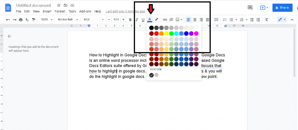 How to Highlight in Google Doc
